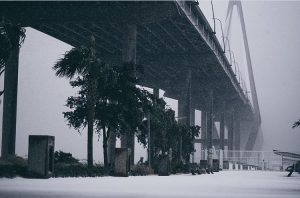 Ravenel Bridge in Charleston Snow