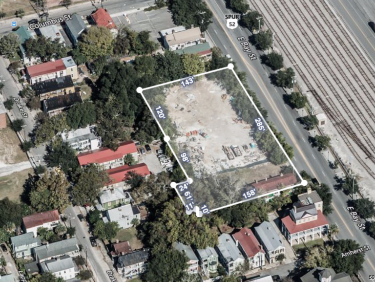 An aerial site map of 655 East Bay Street in Charleston, SC