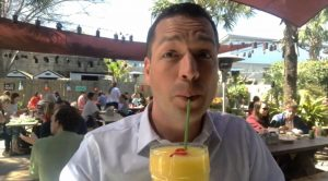Bryan enjoying a frozen screwdriver at Taco Boy following a walking street tour of Huger Street