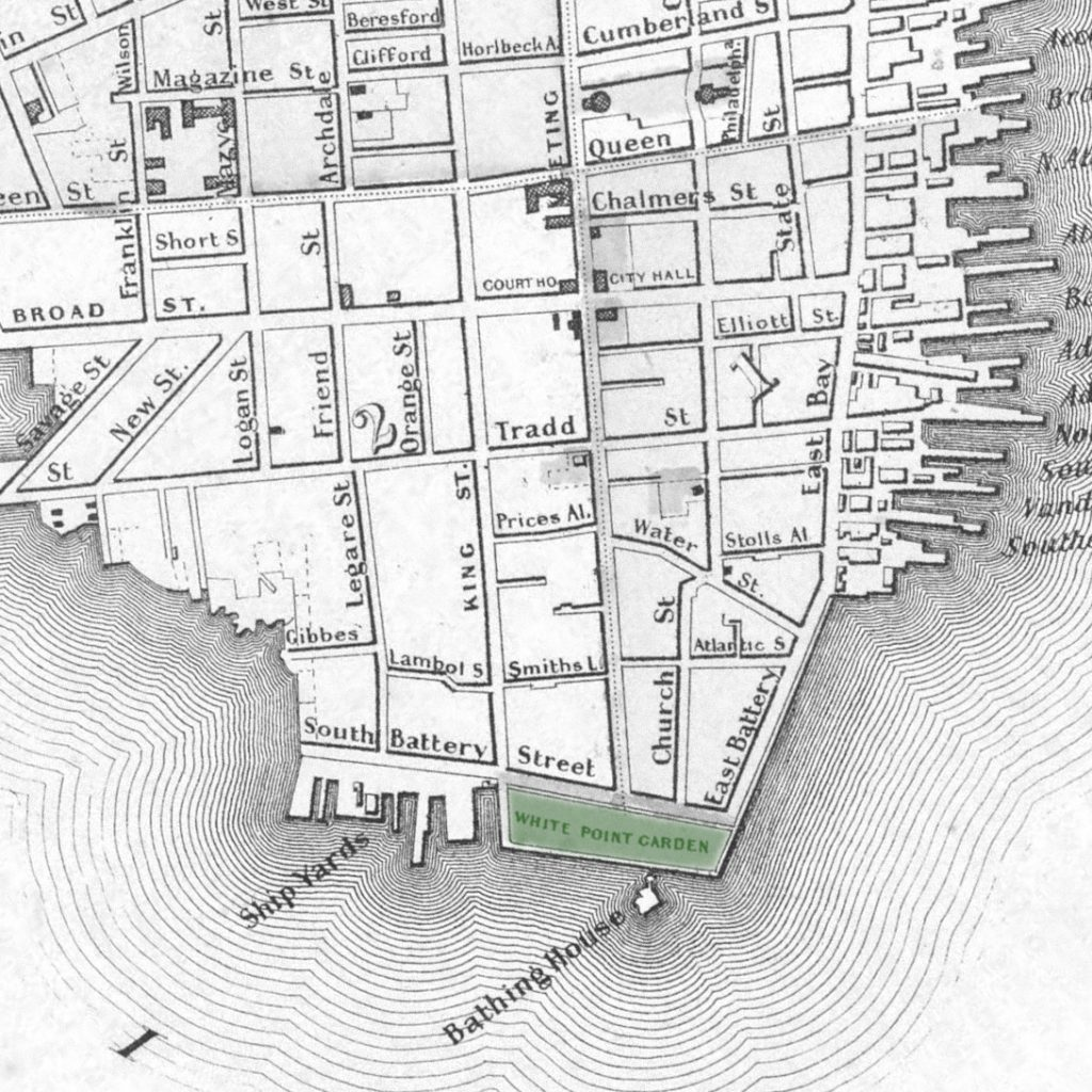 A 1859 map of Charleston indicating the newly built White Point Garden