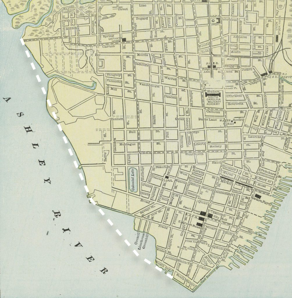 A 1901 map of Charleston indicating the proposed seawall for the Low Battery