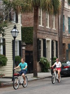 Bicyclists in downtown Charleston