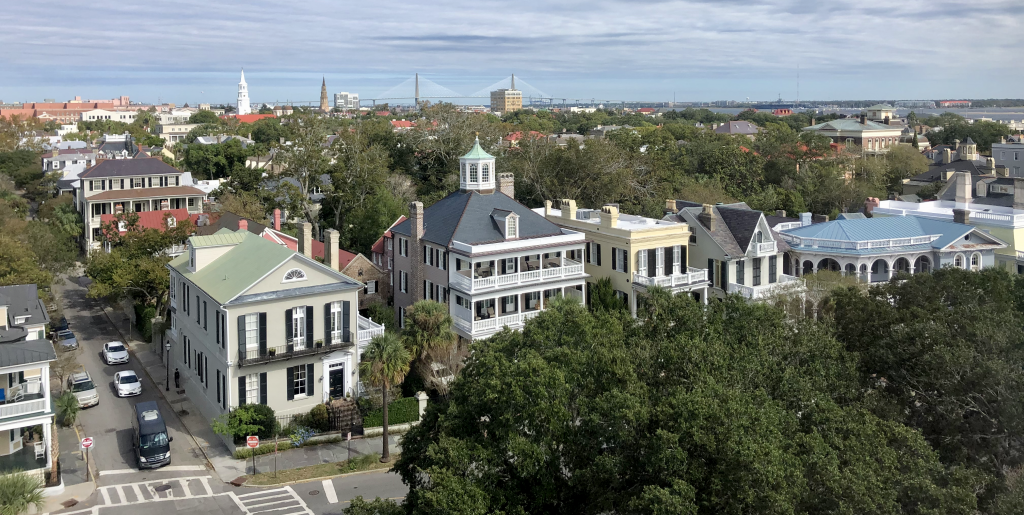 The skyline of Charleston as viewed from South Battery Street
