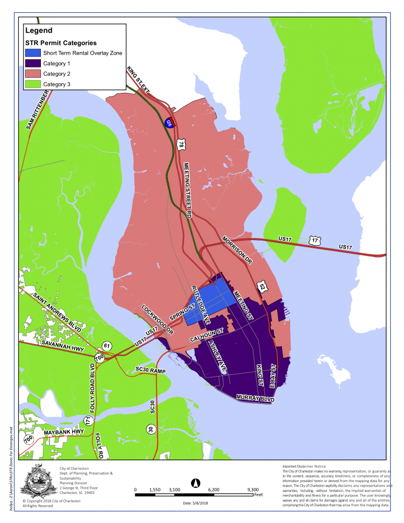 A map of Charleston, SC indicating the Category 1 and Category 2 zones pertaining to the Short Term Rental Ordinance