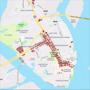 Map of Charleston, SC indicating parcels that may be eligible for commercial short term rentals