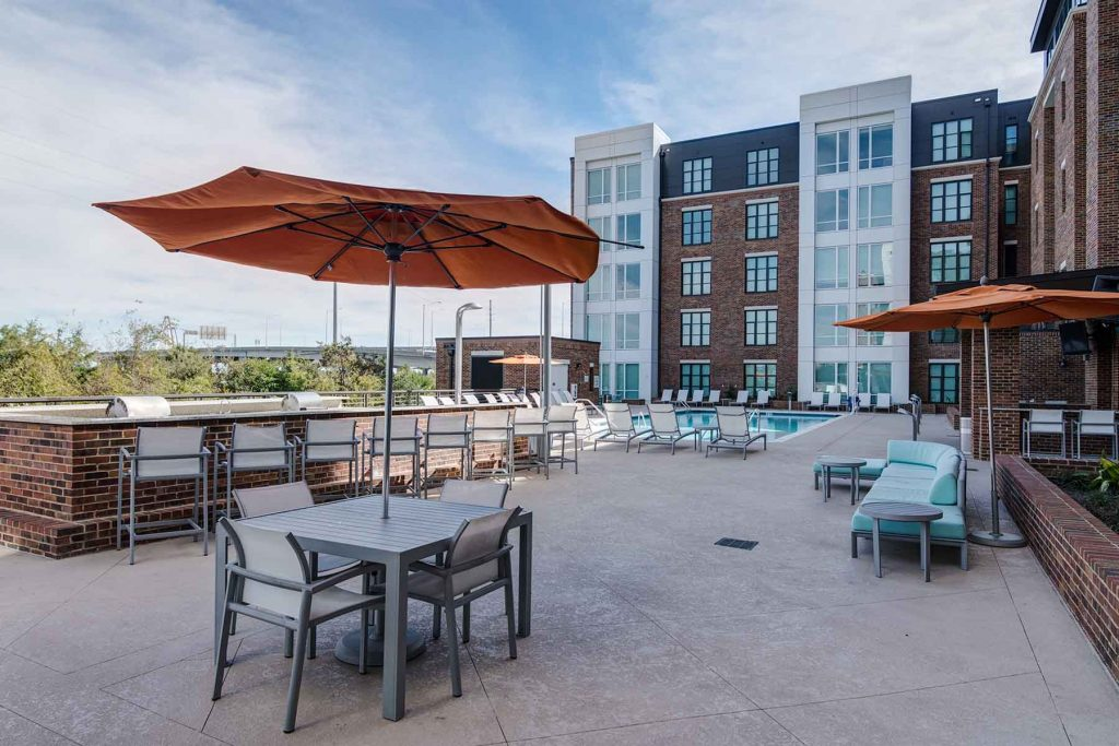 The pool deck of the 930 NoMo apartments in Charleston, SC