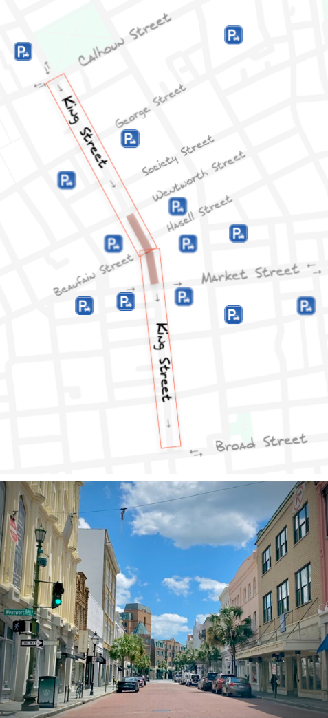 A proposed map of reclaiming the bricked portion of King Street