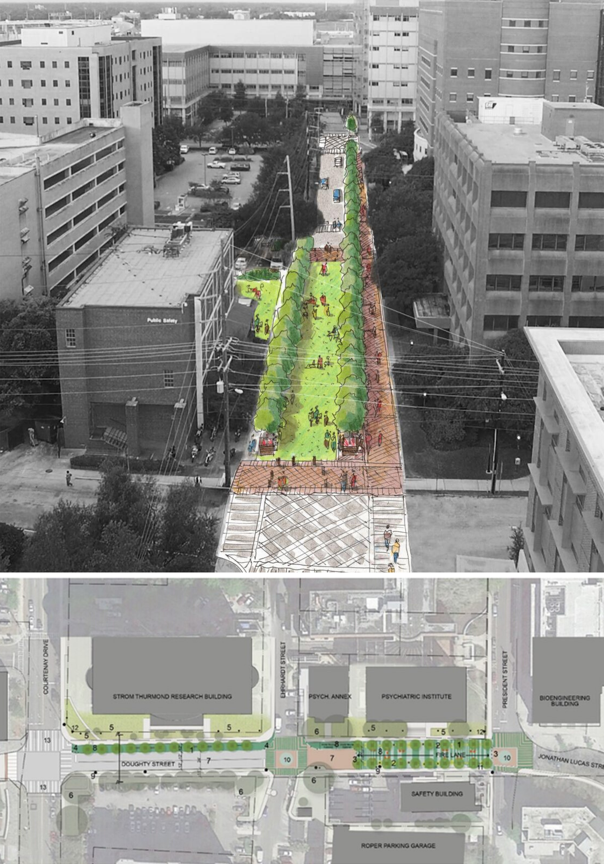 A rendering of the Medical District Greenway project in Charleston