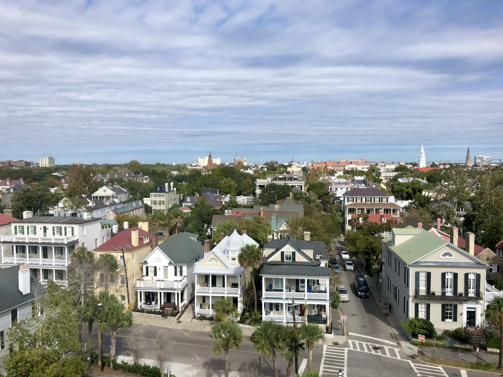 An aerial view of homes on South Battery Street in Charleston
