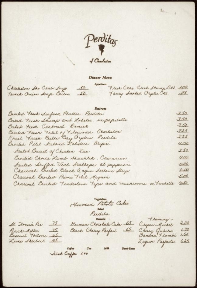 A menu from Perdita's Restaurant in Charleston