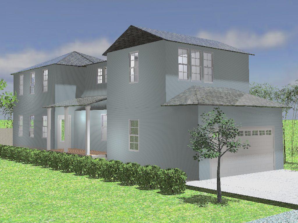 Proposed exterior rendering of House Three in Pilgrim Square